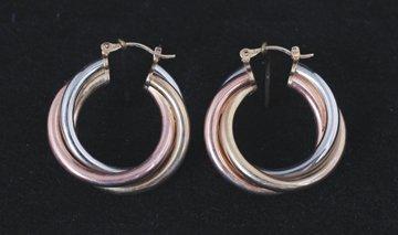 Pair of tri-colour earrings