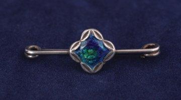 Art Nouveau sterling silver bar brooch with enamel