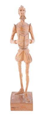 Carved wood figure of Miguel de Cervantes