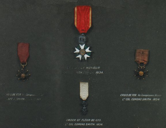 Framed military medals, circa 1934