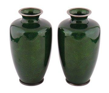 Pair nineteenth-century Japanese green enamelled vases