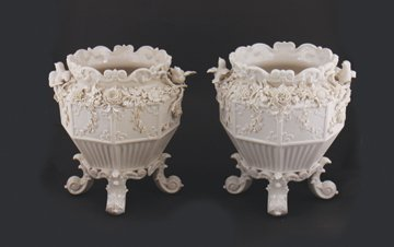 Pair of Belleek pottery panel flower pots, circa 1775