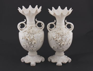 Matching pair of 2nd Period Belleek pottery rose Island