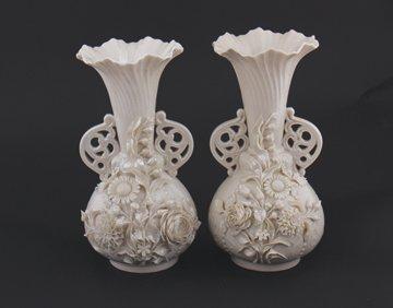 Matching pair of 2nd Period Belleek pottery Princess va