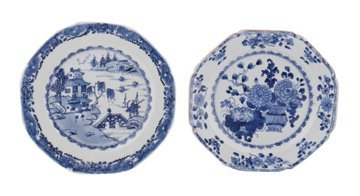 Two  eighteenth-century Chinese blue and whte plates