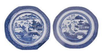 Two  eighteenth-century Chinese blue and white plates