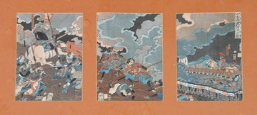 Signed nineteenth-century Japanese triptych woodblock