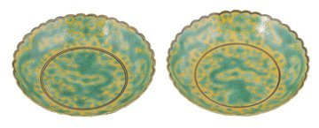Pair Qing period yellow-ground and green enamelled dish