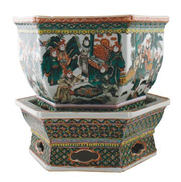 Chinese Qing period jardinière on stand