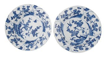 Eighteenth-century pair of Chinese blue and white dishe