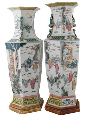 Chinese Qing period pair of famille rose vases