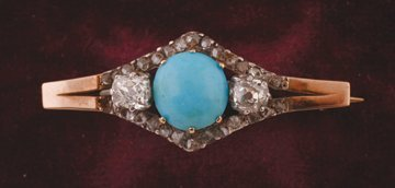 Yellow gold turquoise and diamond brooch with approx.