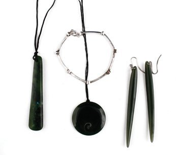 Two jade earrings, two jade pendants, and a silver