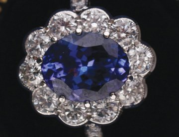 Tanzanite and diamond 18 ct. white gold ring