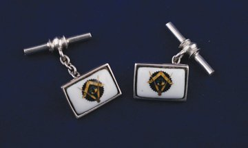 Pair silver and enamelled Freemason cuff links