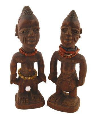 Pair nineteenth/twentieth-century African carved