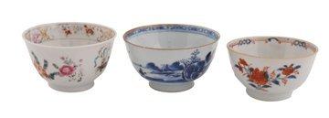 Three eighteenth-century Chinese tea bowls