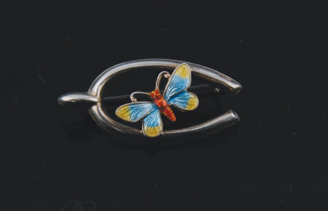 Silver enamel butterfly on wishbone brooch