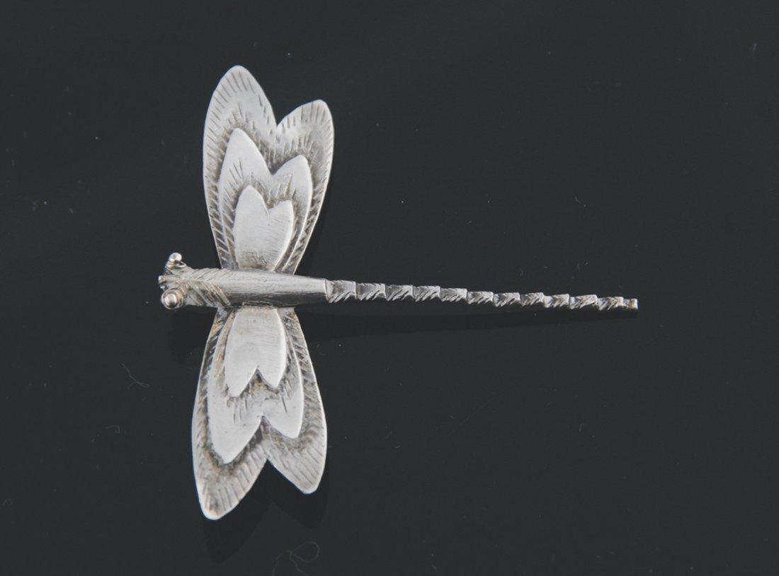 Art Nouveau sterling silver dragon fly brooch
