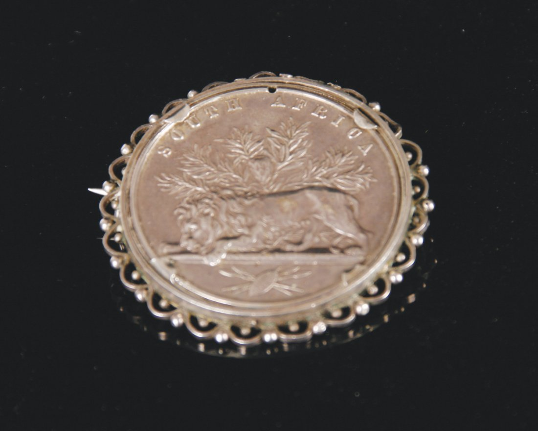 South African silver coin brooch