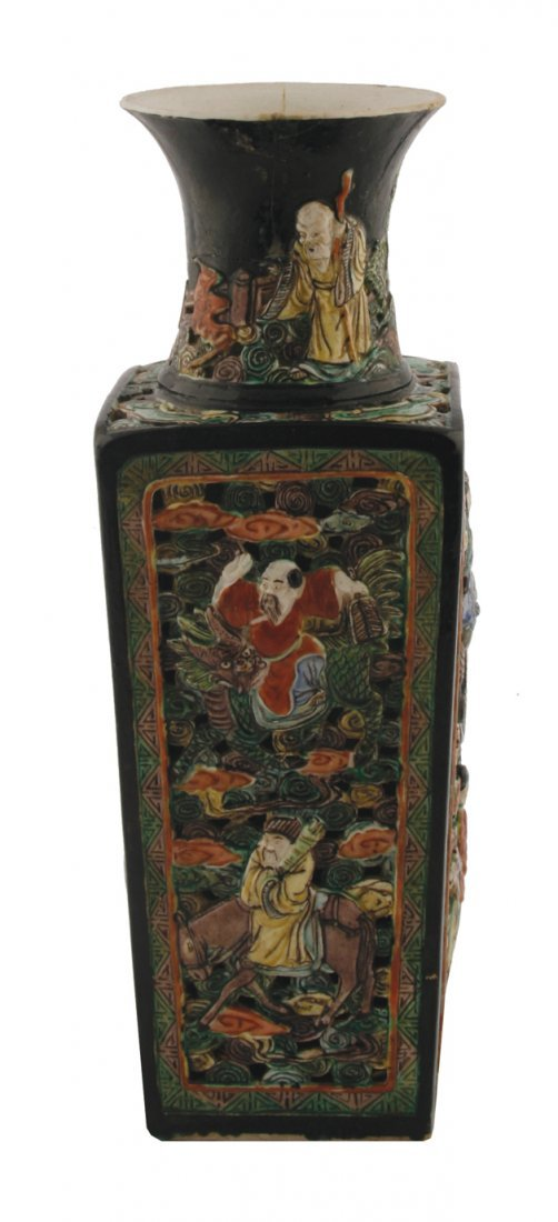 Chinese Qing period famille vert vase of square form