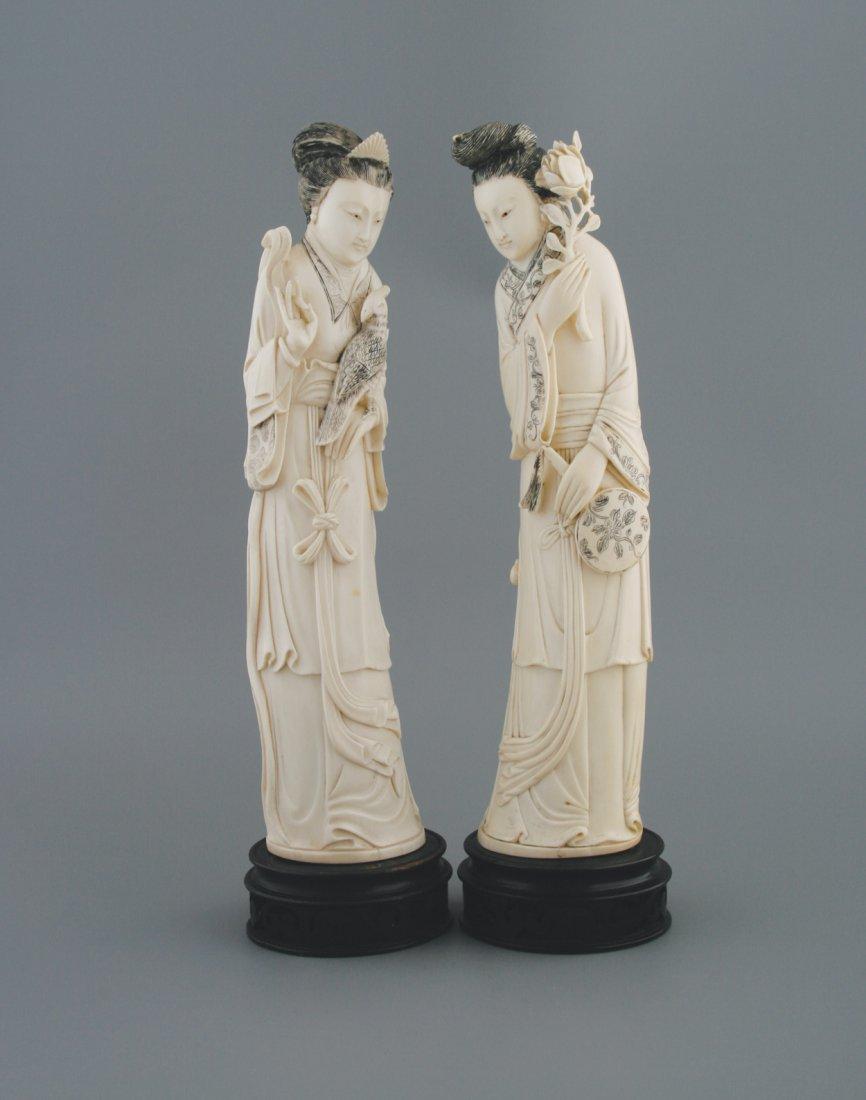 Pair of nineteenth-century Japanese ivory carvings