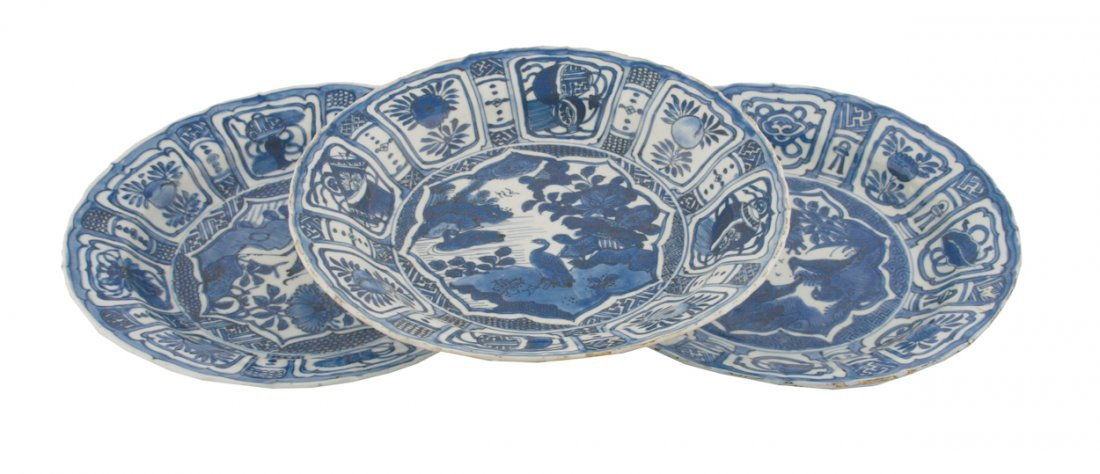 Group of three Kangxi blue and white chargers