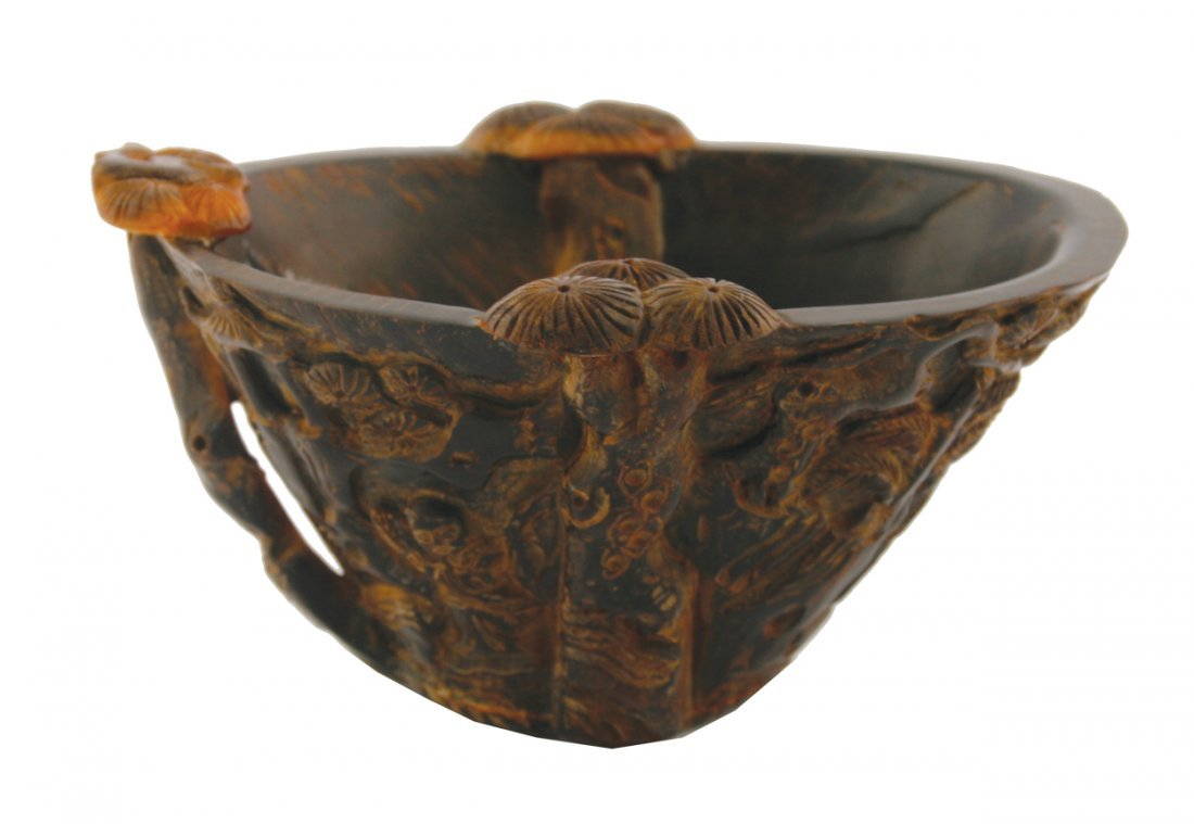Chinese Qing period carved horn libation cup