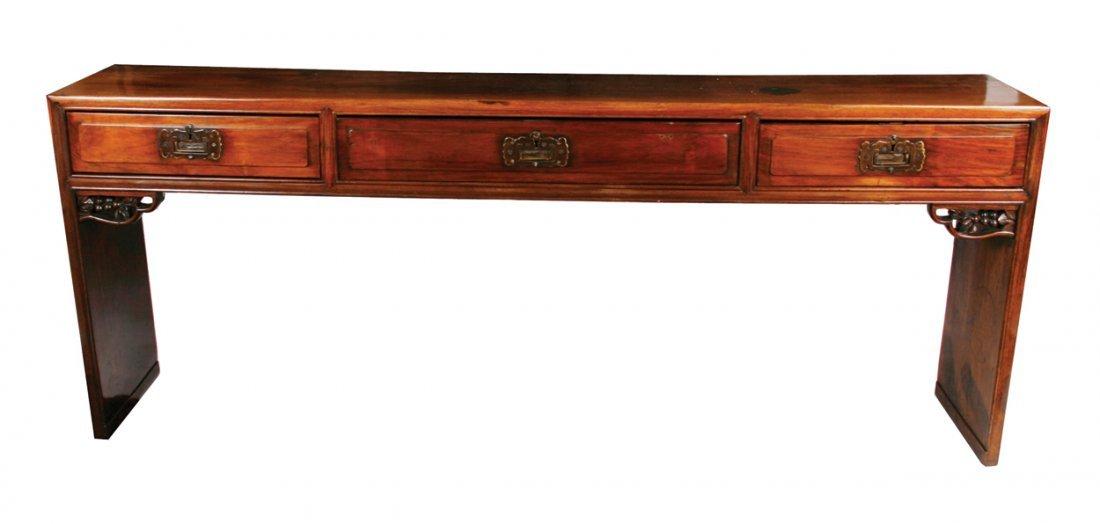 Nineteenth-century Chinese hardwood scroll table
