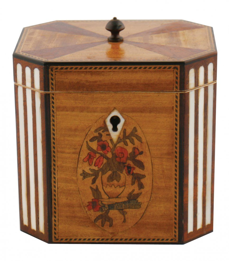 George III style satinwood inlaid and marquetry cased