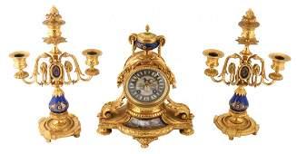 Three piece nineteenth-century ormolu and Sèvres clock