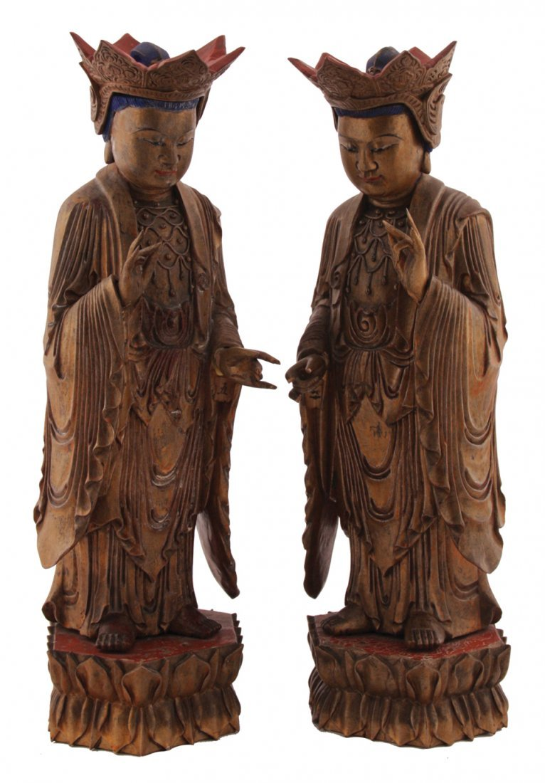 Pair of Chinese Qing period carved giltwood and