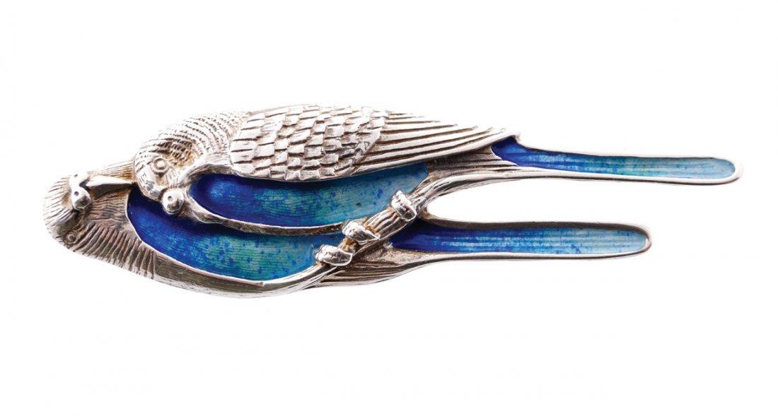Vintage silver and blue enamel budgerigar brooch