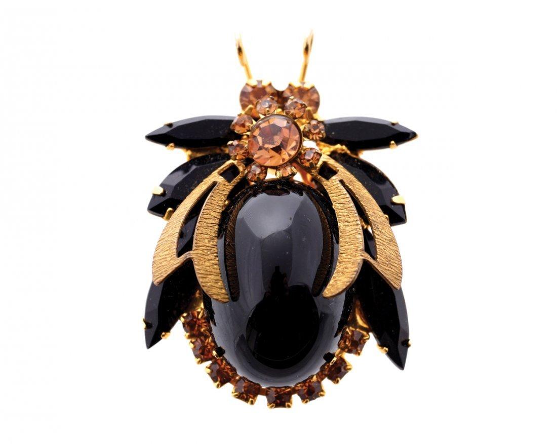 Large vintage Juliana black bee brooch
