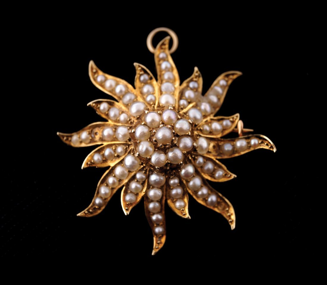 Victorian Art Nouveau seed pearl, 14 ct gold