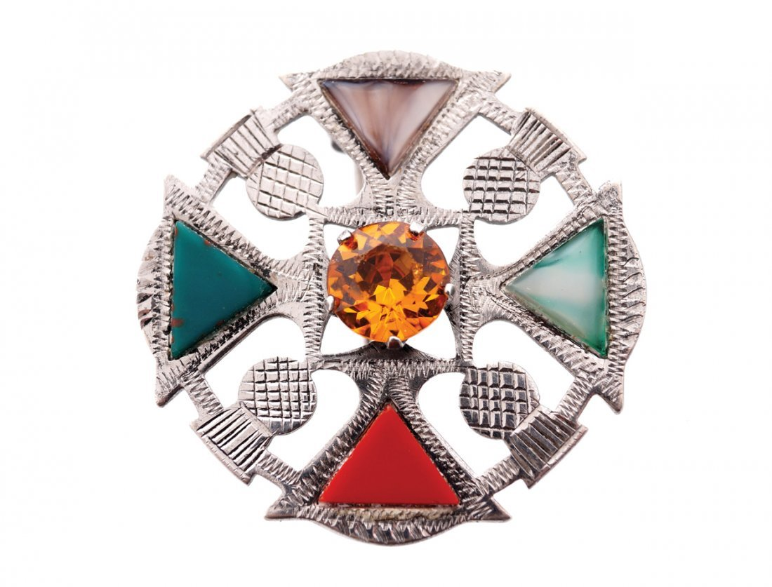 Scottish sterling silver and agate thistle brooch