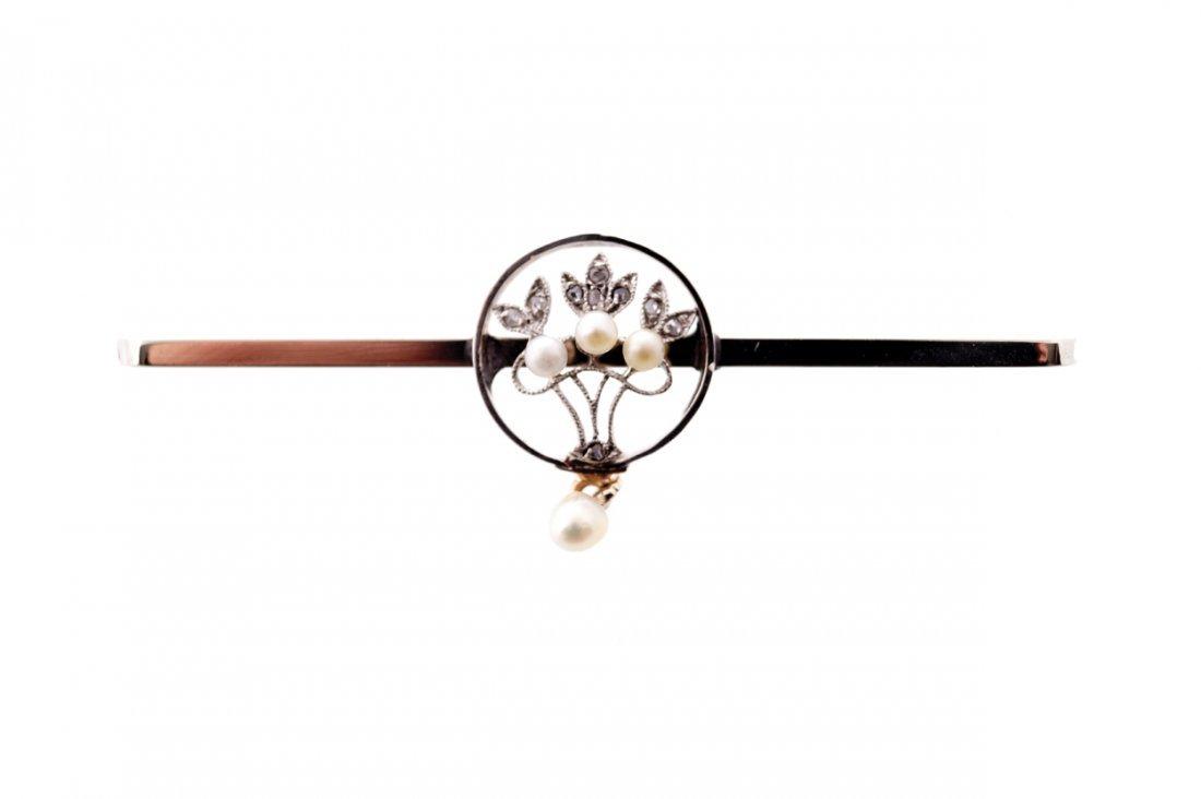 Silver bar brooch