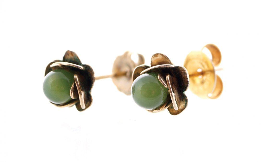 Victorian 9 ct gold jade flower stud earrings