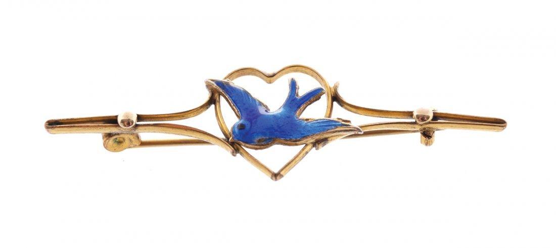 Antique silver, gold and  blue enamel  bird bar brooch