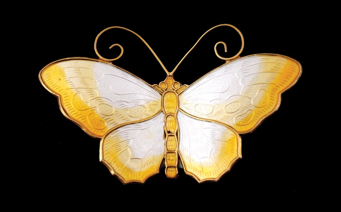Sterling silver and yellow enamel butterfly brooch