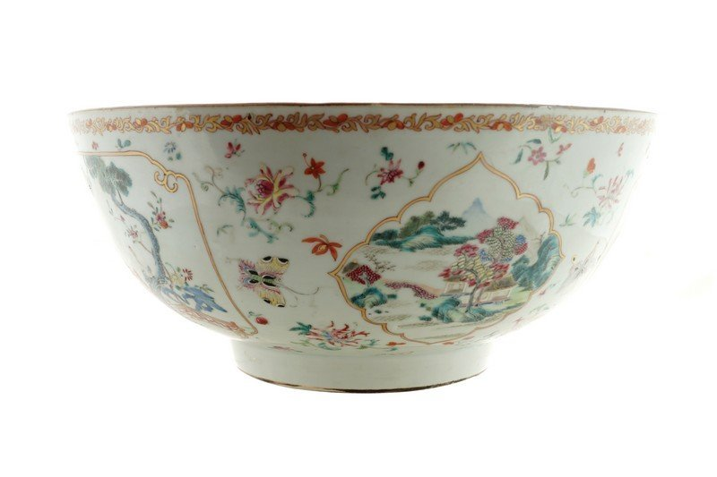 A large Chinese famille rose punch bowl