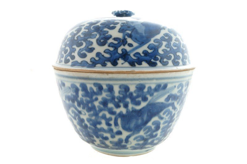 A Chinese blue and white lidded bowl, late Ming period