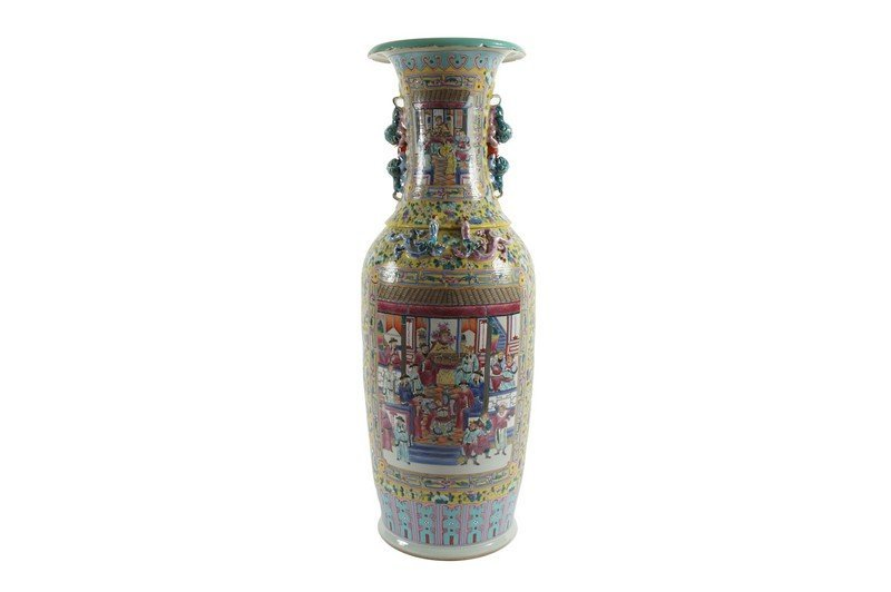 A pair monumental Chinese famille rose baluster vase,