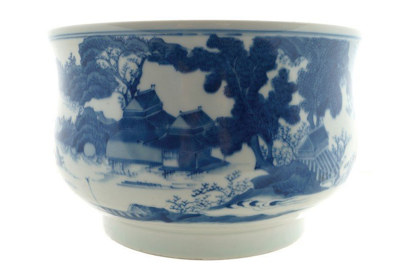 A blue and white Chinese censer of gui shape,