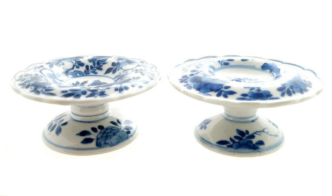 A pair of Chinese blue and white salts, period of