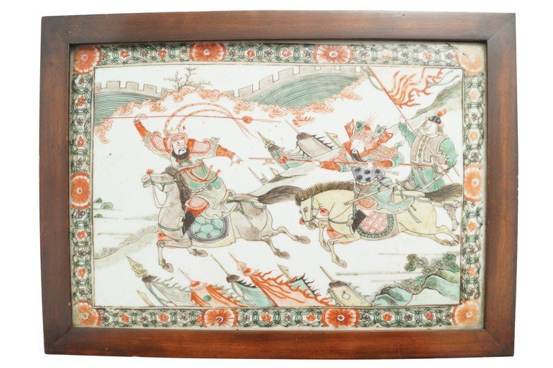 A Chinese famille verte plaque, Kangxi period
