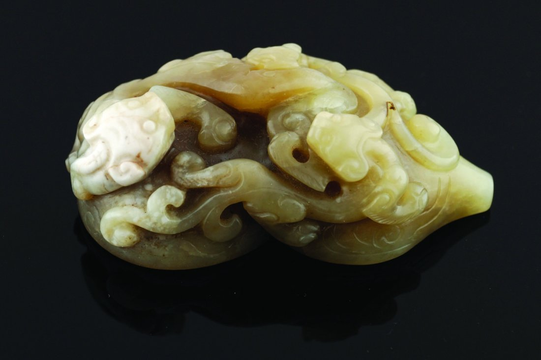 A Chinese celadon jade San Xi Tang double gourd seal