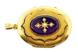 Victorian gold amethyst and seed pearl locket