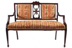 Edwardian period mahogany and marquetry hall settee
