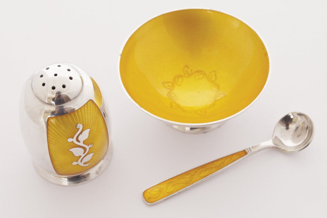Three piece sterling silver and yellow guilloche enamel